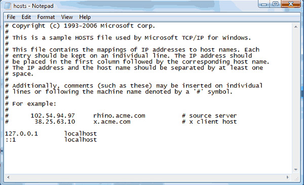 Window Hosts File