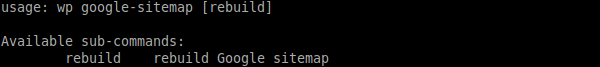`wp sitemap help` output