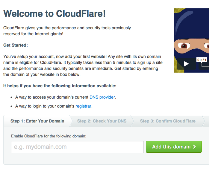 Add your site to CloudFlare
