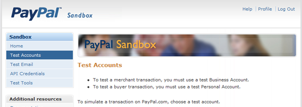 PayPal Developer Sandbox