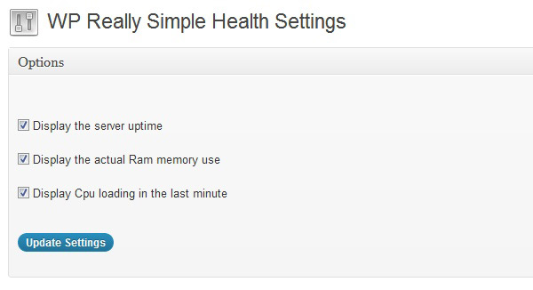 WP Really Simple Health admin interface status